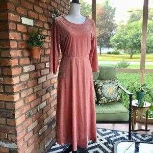 Suzanne Betro Dusty Rose Velvet Midi Dress